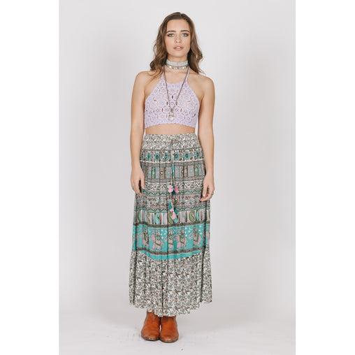 Maxi High Waist Viscose Draped Skirt