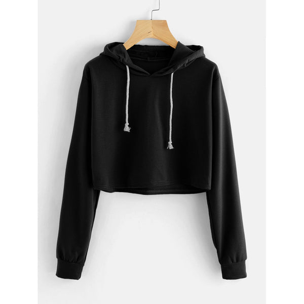 Black Hooded Long Sleeve Pullover Top