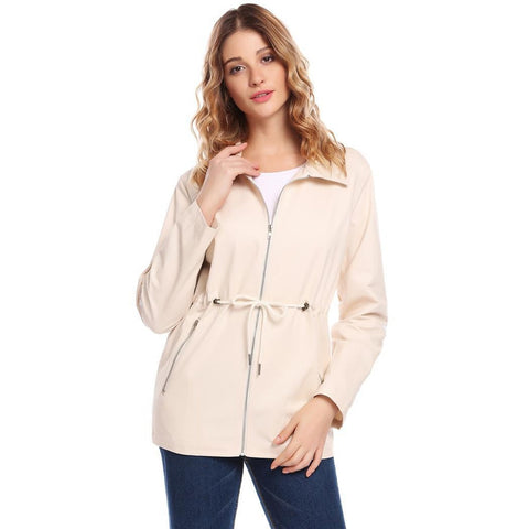 Jackets - Women's Trendy Beige Collar Casual Down Jacket