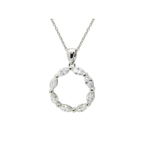 White Sterling Silver Zircon Necklace Ring Pendant Jewelry Set