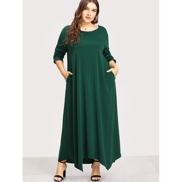 Green Plus Size Maxi Dresses with Sleeves