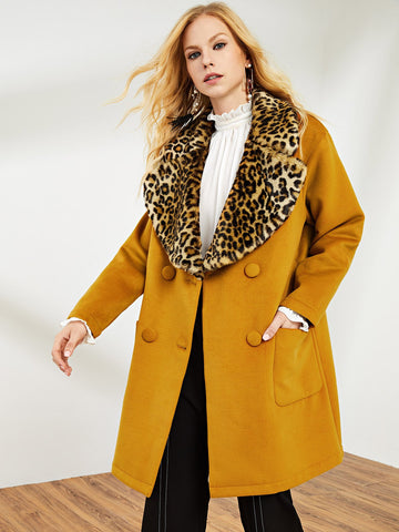 Ginger Exaggerate Leopard Print Collar Double Breasted Coat