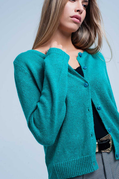 Green Round Neck Wool Sweater