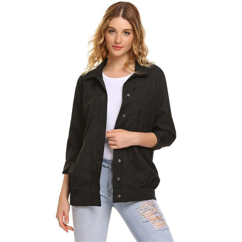 Jackets - Women's Trendy Black Collar Casual Military Jacket