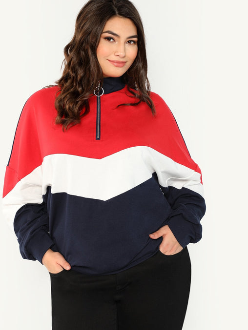 Plus Size Zip Front Sweatshirt Top