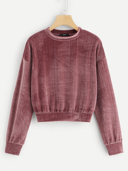 Pink Drop Shoulder Ribbed Velvet Sweatshirt