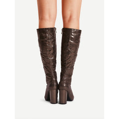 Heart Pattern Side Zipper Knee High Boots - Fashiontage