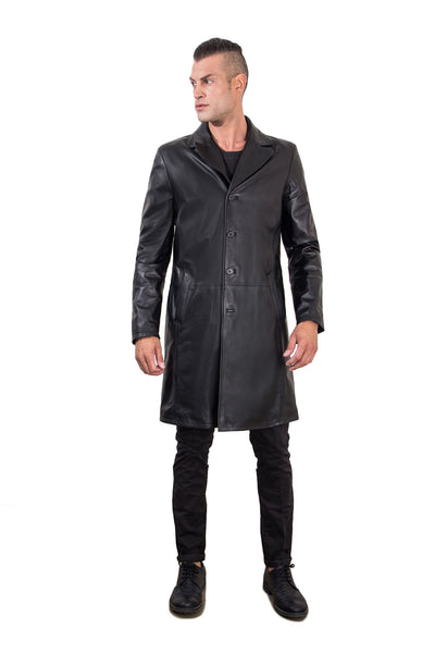 Black Genuine Nappa Lamb Leather Coat