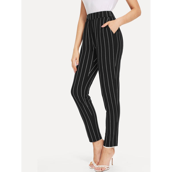 Tapered Pants - Women's Trendy Black Elastic Waist Pinstriped Cigarette Pants