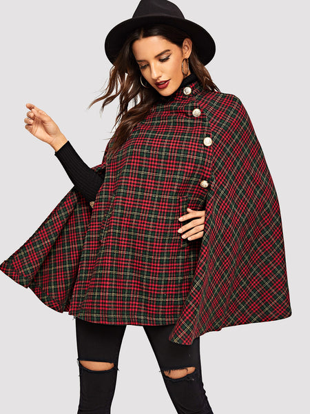 Multicolor Button Front Plaid Print Cape