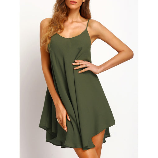 Army Green Asymmetrical Criss Cross Cami Sundress