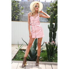 Vneck Sash Zipper Mini Dress