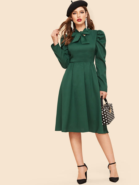 Green Tie Neck Gigot Sleeve Midi Dress