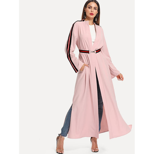 Pink Striped Sleeve And Belt Abaya