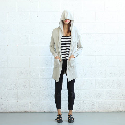 Shirts - Women's Trendy Ivory Hooded Long Sweater