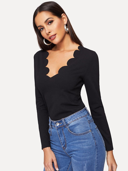 Black Scallop Trim Neck Solid T-Shirt