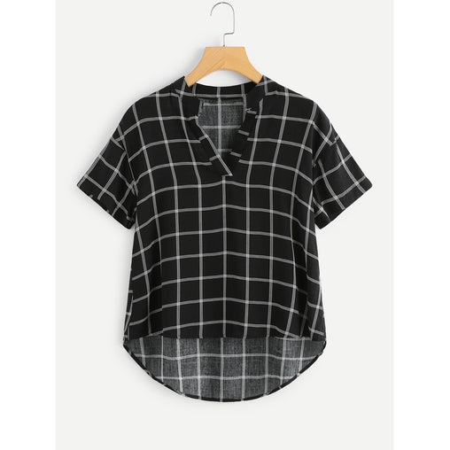 Black And White V-Neck Short Sleeve Shirt