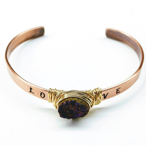 Gold Wire Wrapped Druzy Cuff