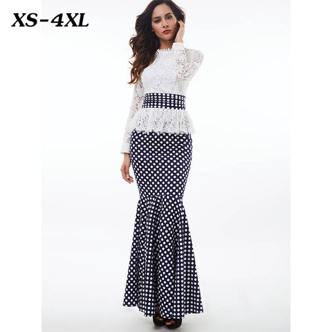 Plus Size Dresses - Women's Trendy Plus Size White Stand Collar Long Sleeve Polka Dot Dress