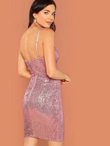 Pink Sequined Sleeveless Mini Underwire Bust Dress
