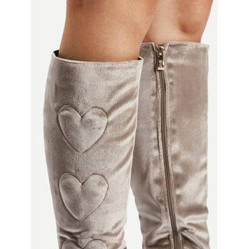 Heart Pattern Knee High Boots - Fashiontage