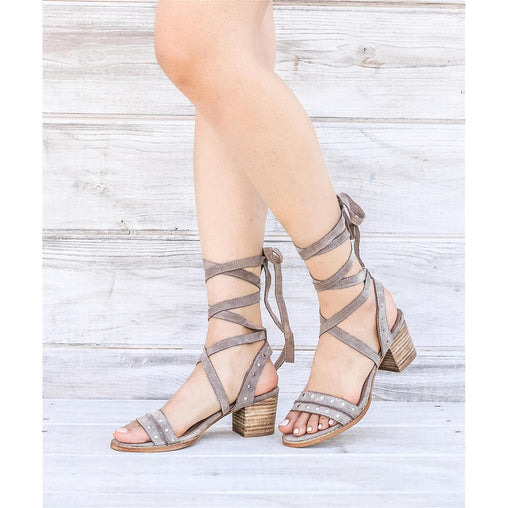 Plus Size Grey Studded Block Heel Sandals