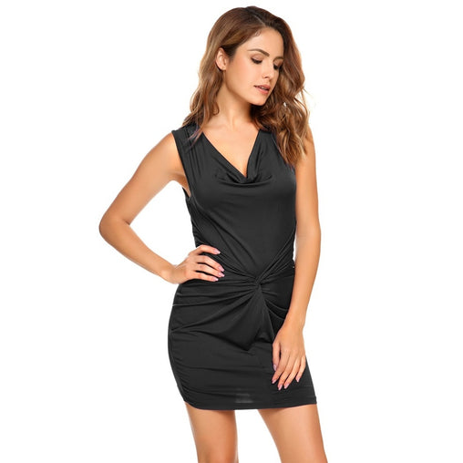 Black Cowl Neck Sleeveless Cocktail Dress