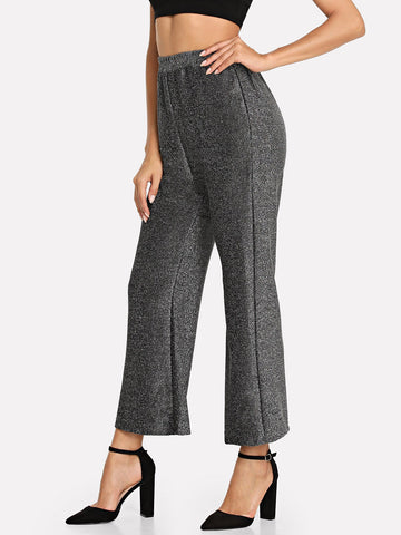 Wide Leg Pants - Women's Trendy Silver Elastic Waist Pocket Wide Leg Pants