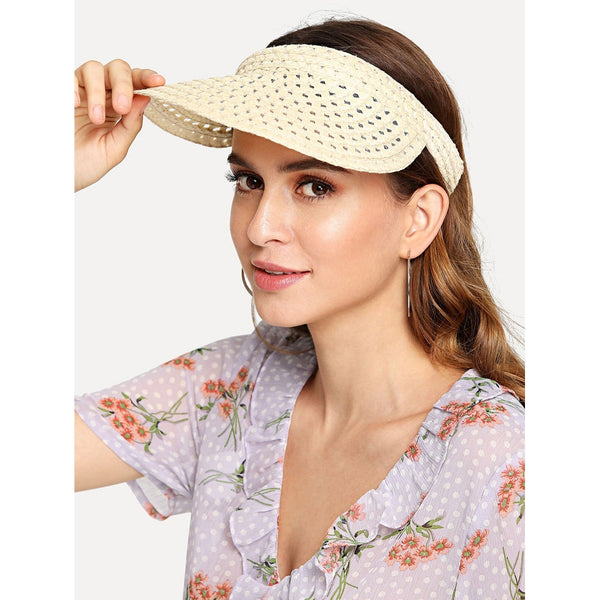 Beige Cut Out Straw Visor Hat