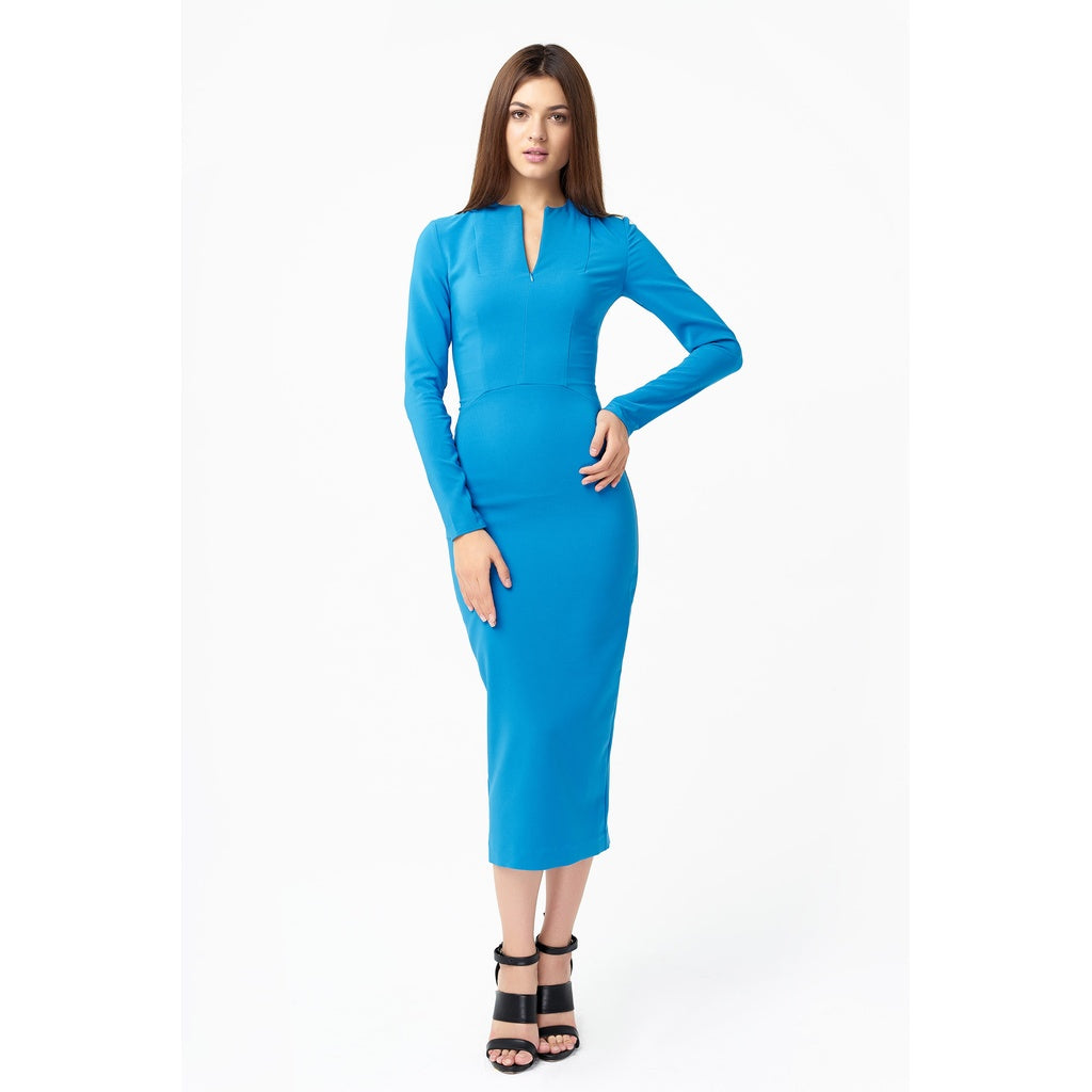 Blue Long Midi Dress - Fashiontage