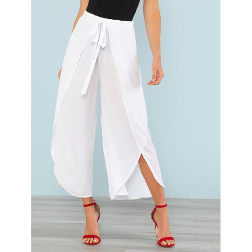 Tie Waist Wrap Pants - Fashiontage