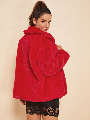 Ups - Women's Trendy Red Open Front Faux Fur Teddy Coat