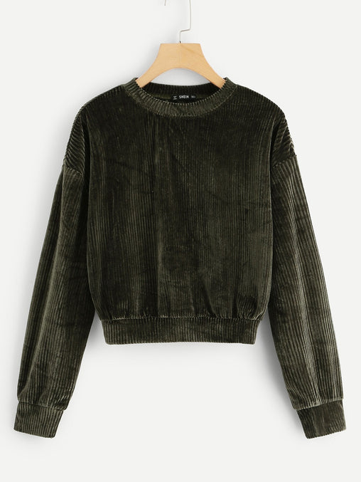 Army Green Drop Shoulder Ribbed Velvet Sweatshirt