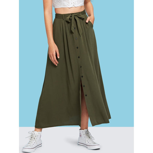Army Green Button And Split Front Belted Solid Skirt