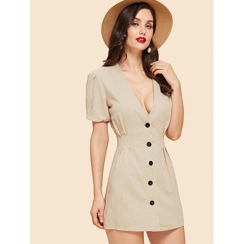 Day Dresses - Women's Trendy Apricot Deep V-Neck Button Front Dress