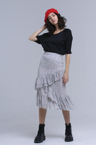 Pleated Skirts - Women's Trendy White Print Mini Skirt