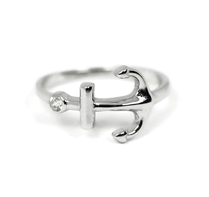 Sterling Silver Anchor Ring with Single CZ Accent