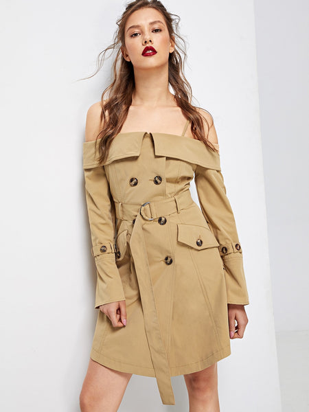 Off Shoulder Front Belted Khaki Trench Coat