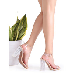 Clear Ankle Strap Peep Toe Heeled Sandals - Fashiontage