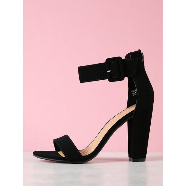 Sandals - Women's Trendy Black Ankle Cuff Chunky Heel Sandals