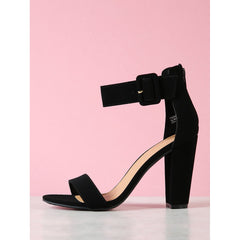 Black Ankle Cuff Chunky Heel Sandals