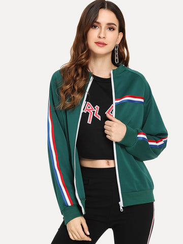 Green Contrast Striped Jacket