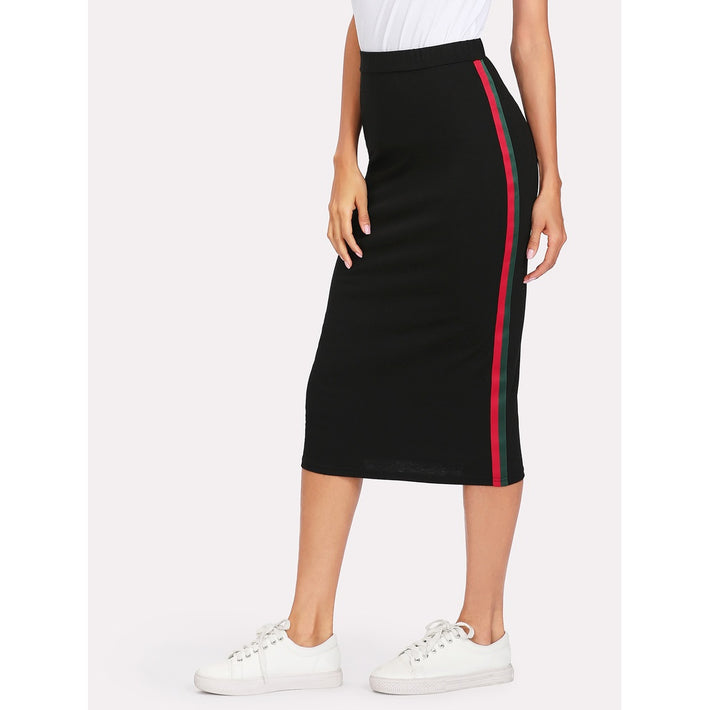 Black Stripe Long Full Sheath Skirt - Fashiontage