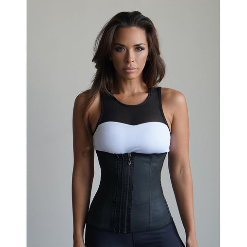 Plus Size Black Cotton Zipper Corset