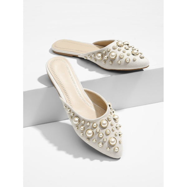 Grey Pointed Toe Faux Pearl Decorated Mules