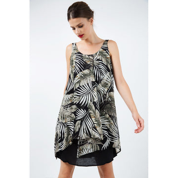 Black Round Neck Sleeveless Print Long One Piece Dress - Fashiontage