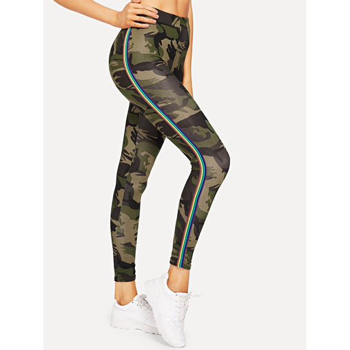 Army Green Camo Print Striped Tape Side Leggings