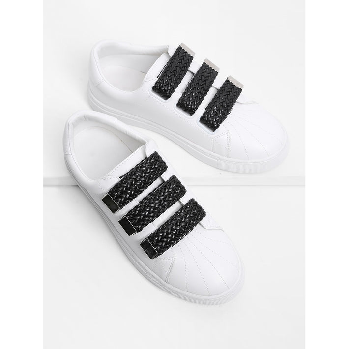 Contrast Velcro Low Top Sneakers - Fashiontage