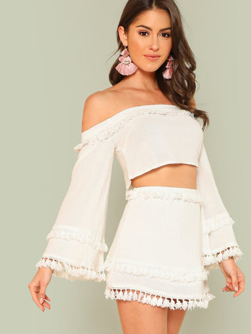 Skirts - Women's Trendy White Bell Sleeve Layered Tassel Trim Crop Bardot Top And Skirt Set