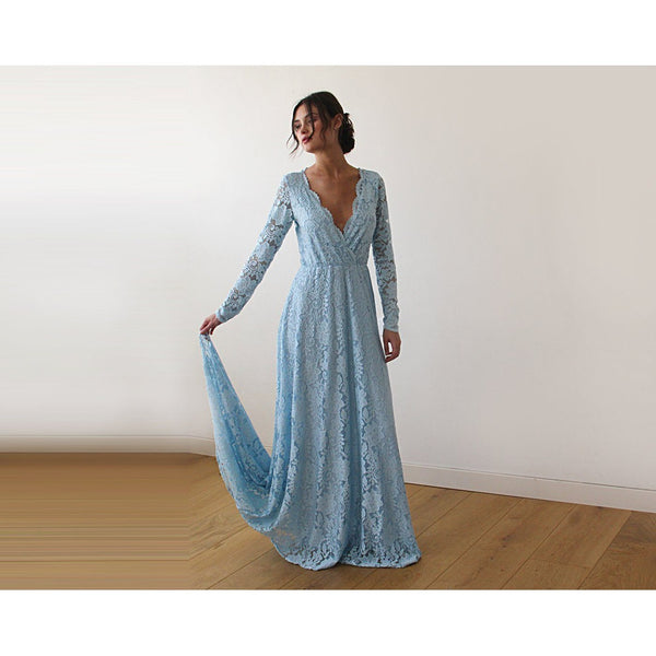 Blue V-Neck Long Sleeve Maxi Dress